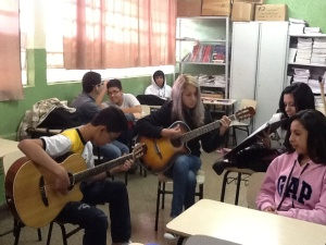 Some students playing and singing for us today