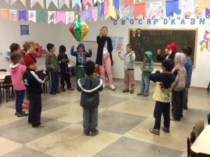 Preschool class practicing their song for the Festa Junina.